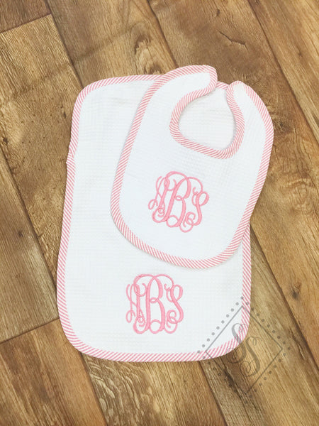 Seersucker Burp Cloth and Bib Set-Pink