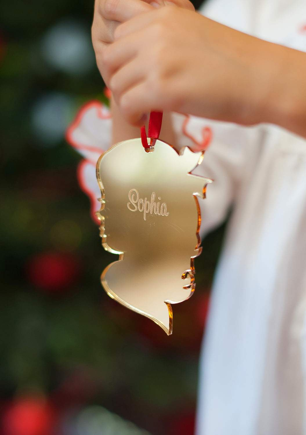 Girl Silhouette Mirrored Acrylic Ornament