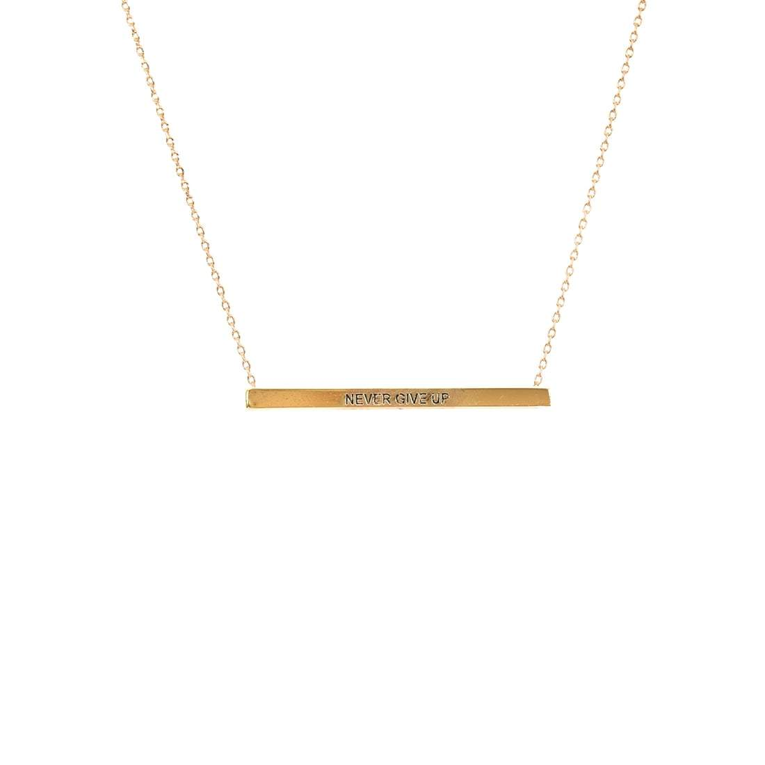 Never Give Up Bar Necklace