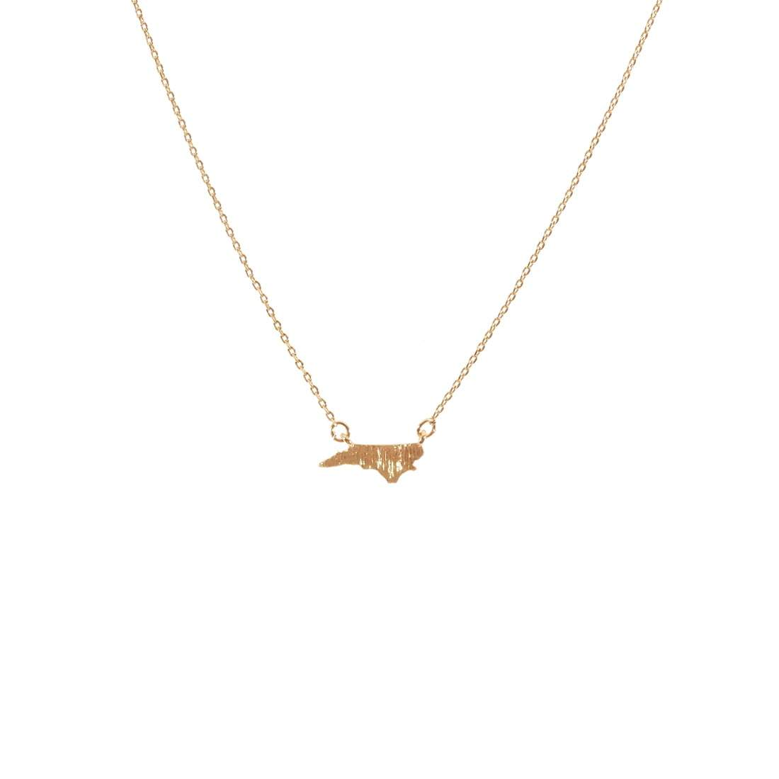 Gold North Carolina State Necklace