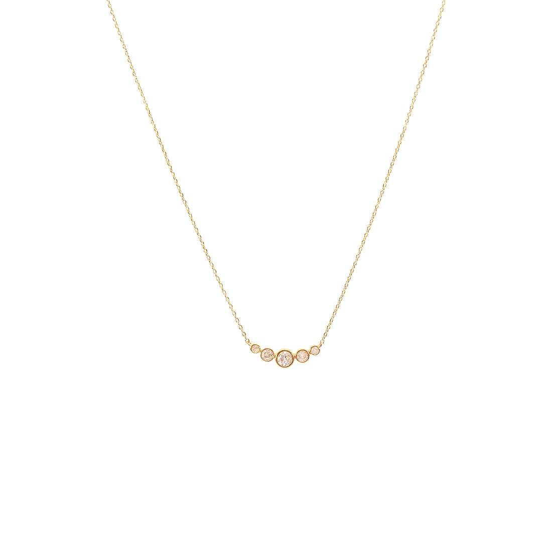 Gold Graduated Five CZ Necklace