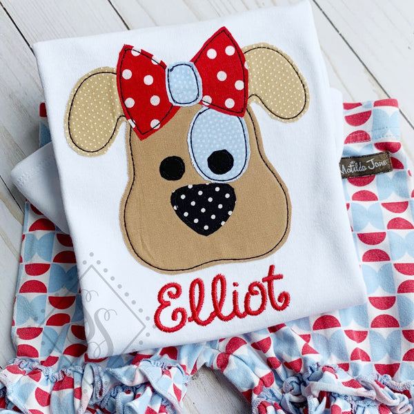 Puppy Patch Eye w/ Bow Applique