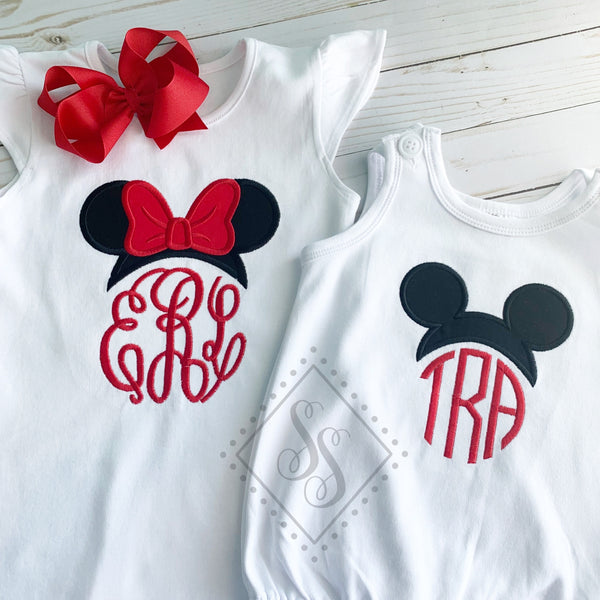 Girls Mouse Ears Monogram