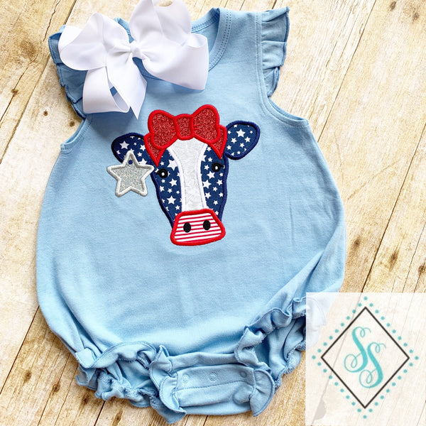 Patriotic Cow Applique
