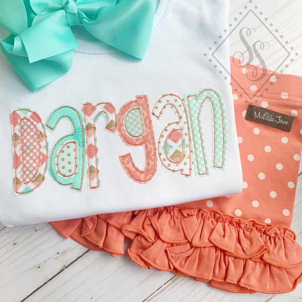 Name Applique Shirt - Coral and Mint