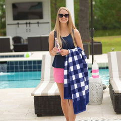Navy Check Towel