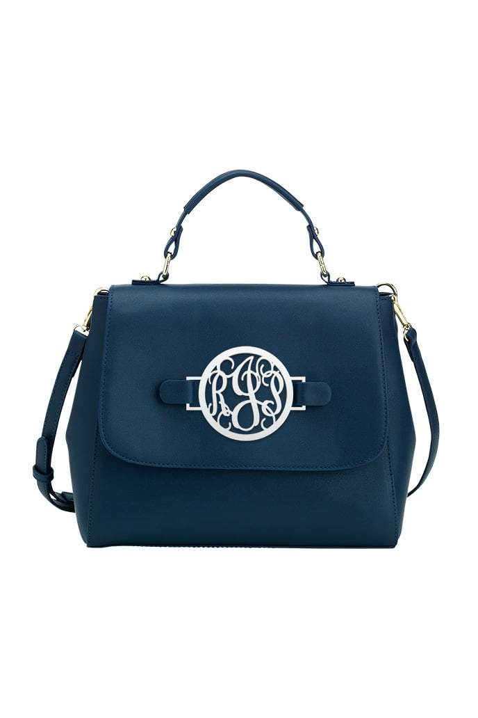 Navy Reese Monogram Satchel