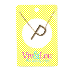 P Gold Initial Necklace