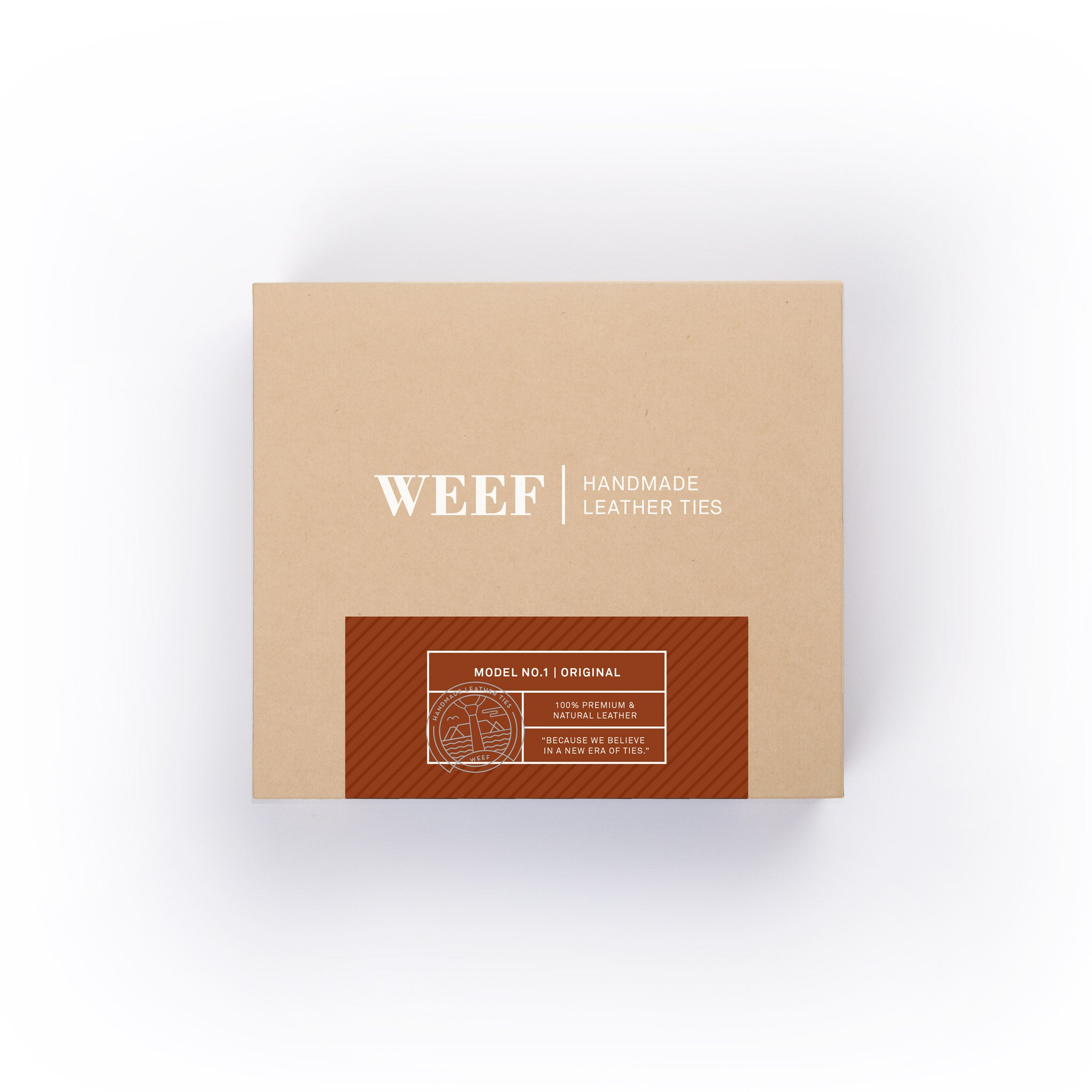 This is the premium packaging box of the cognac tan WEEF handmade leather tie.