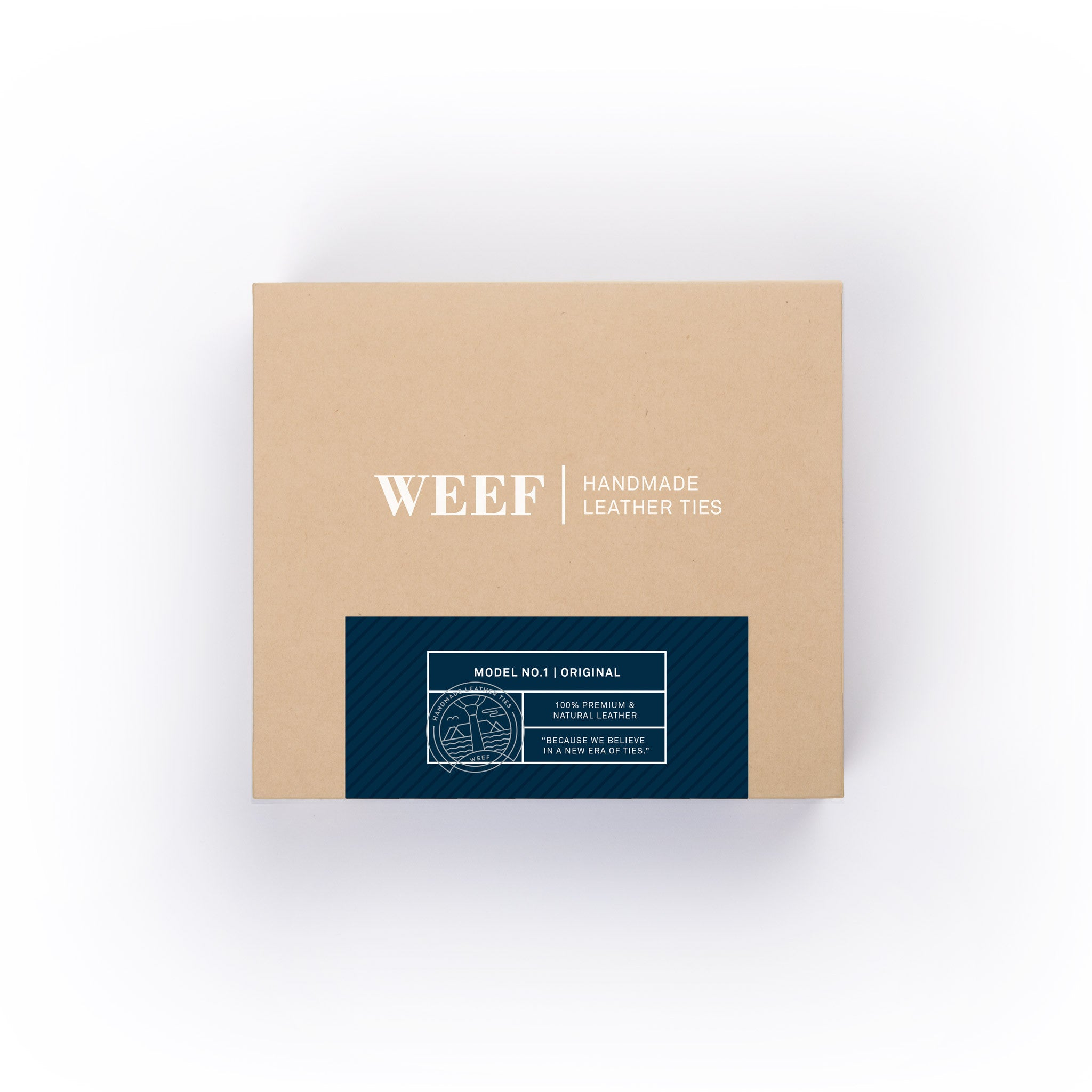This is the premium packaging box of the deep navy WEEF handmade leather tie.
