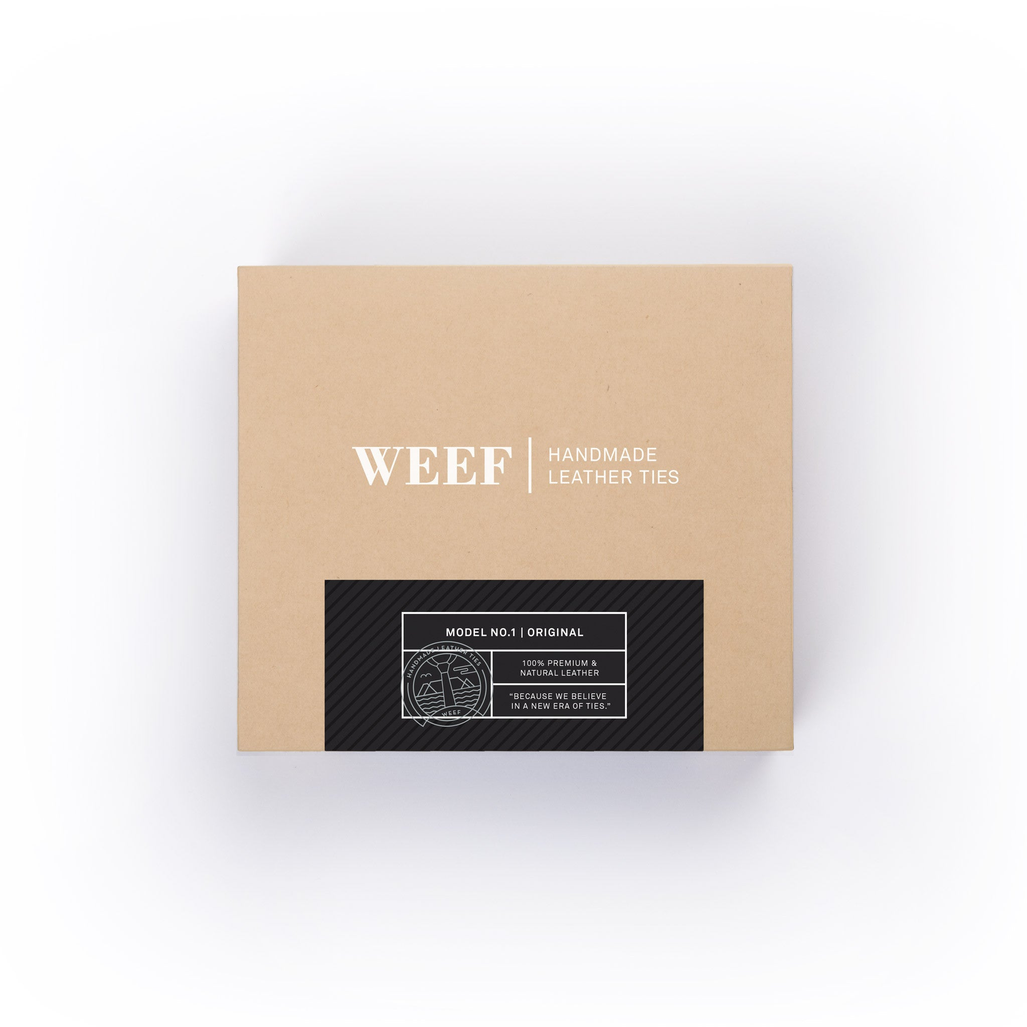 This is the premium packaging box of the matt black WEEF handmade leather tie.