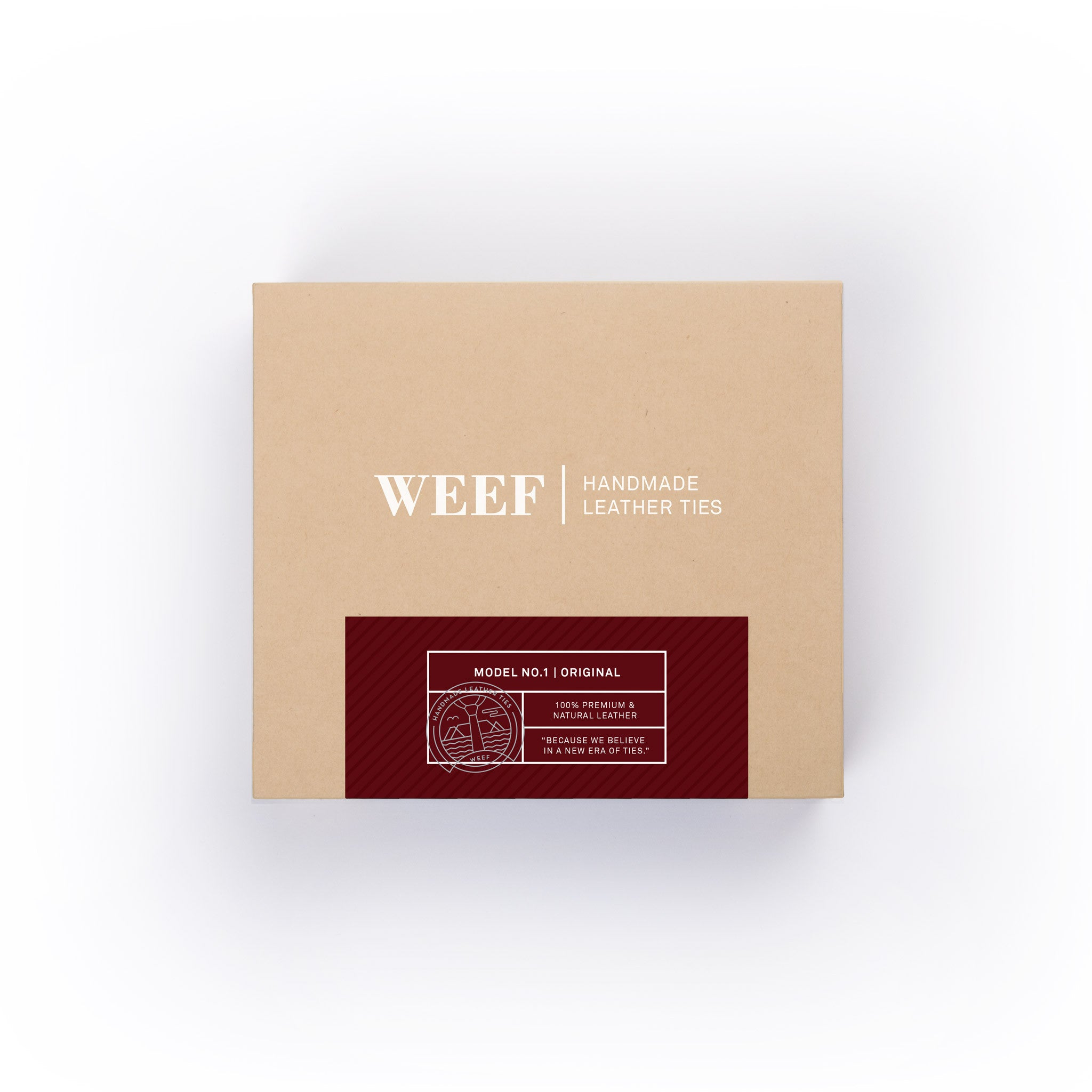 This is the premium packaging box of the oxblood red WEEF handmade leather tie.