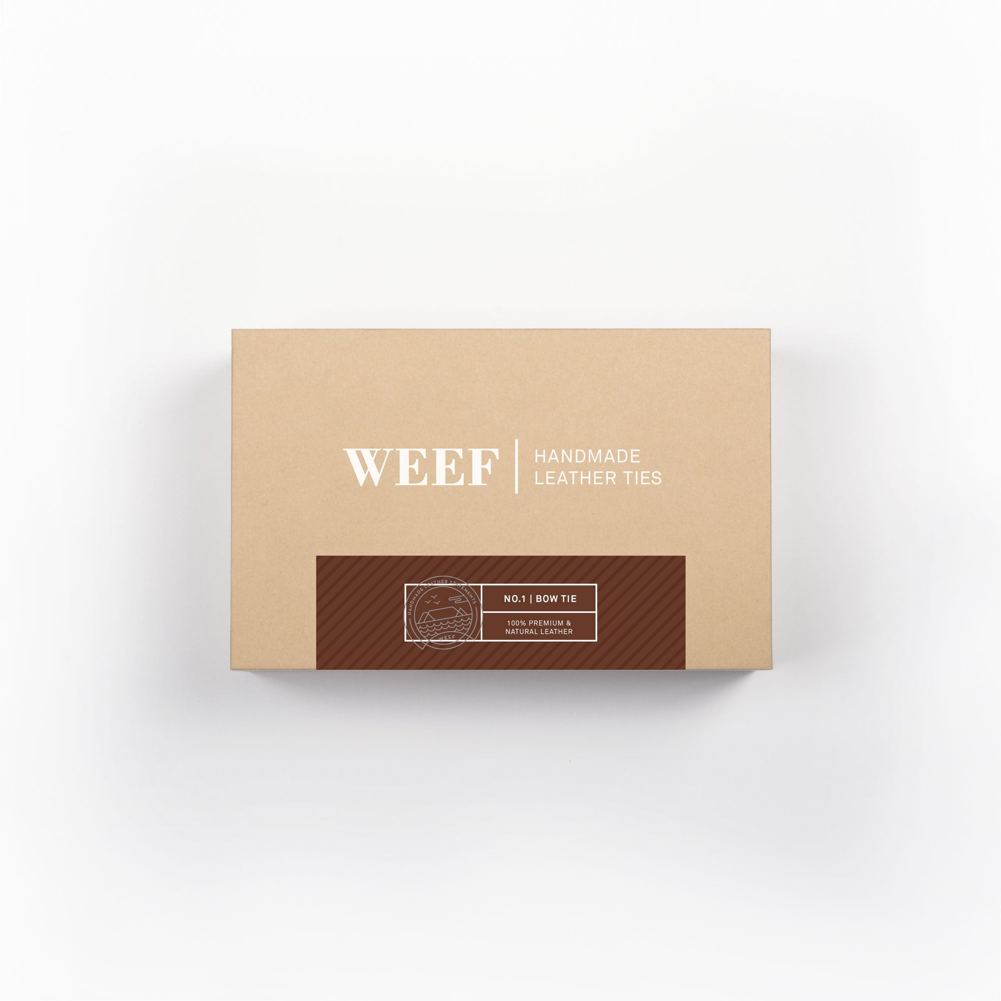 This is the premium packaging box of the charley brown WEEF handmade leather bow tie.