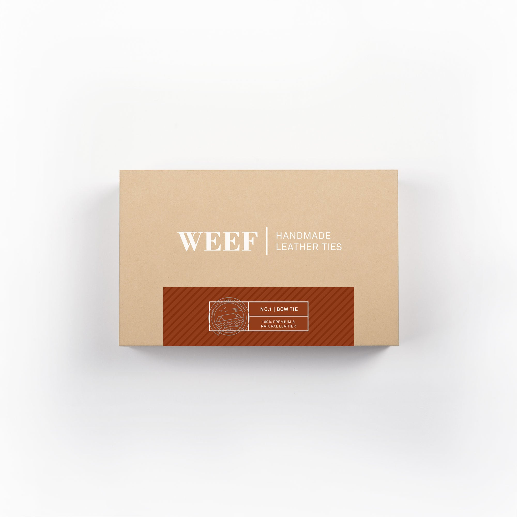 This is the premium packaging box of the cognac tan WEEF handmade leather bow tie.