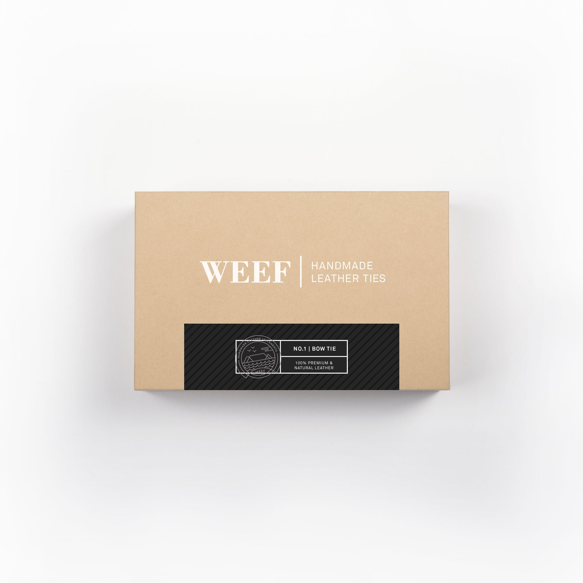 This is the premium packaging box of the matt black WEEF handmade leather bow tie.
