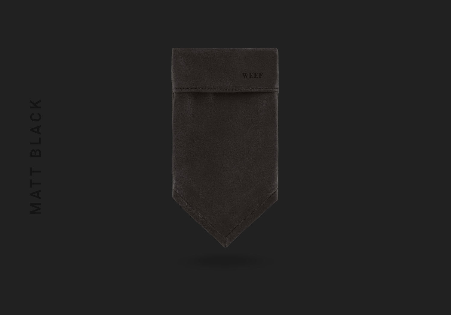 This matt black WEEF handmade leather pocket square is a great present or gift idea for dapper and stylish gentlemen for fathers day, valentines day or Christmas.