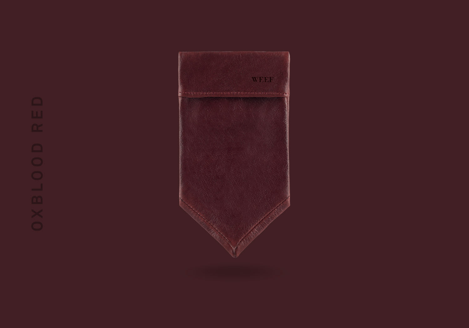 This oxblood red WEEF handmade leather pocket square is a great present or gift idea for dapper and stylish gentlemen for fathers day, valentines day or Christmas.