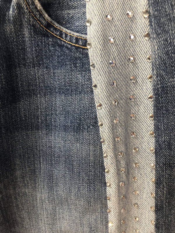 Remade Vintage Levi Jeans with Diamanté Panel Insert