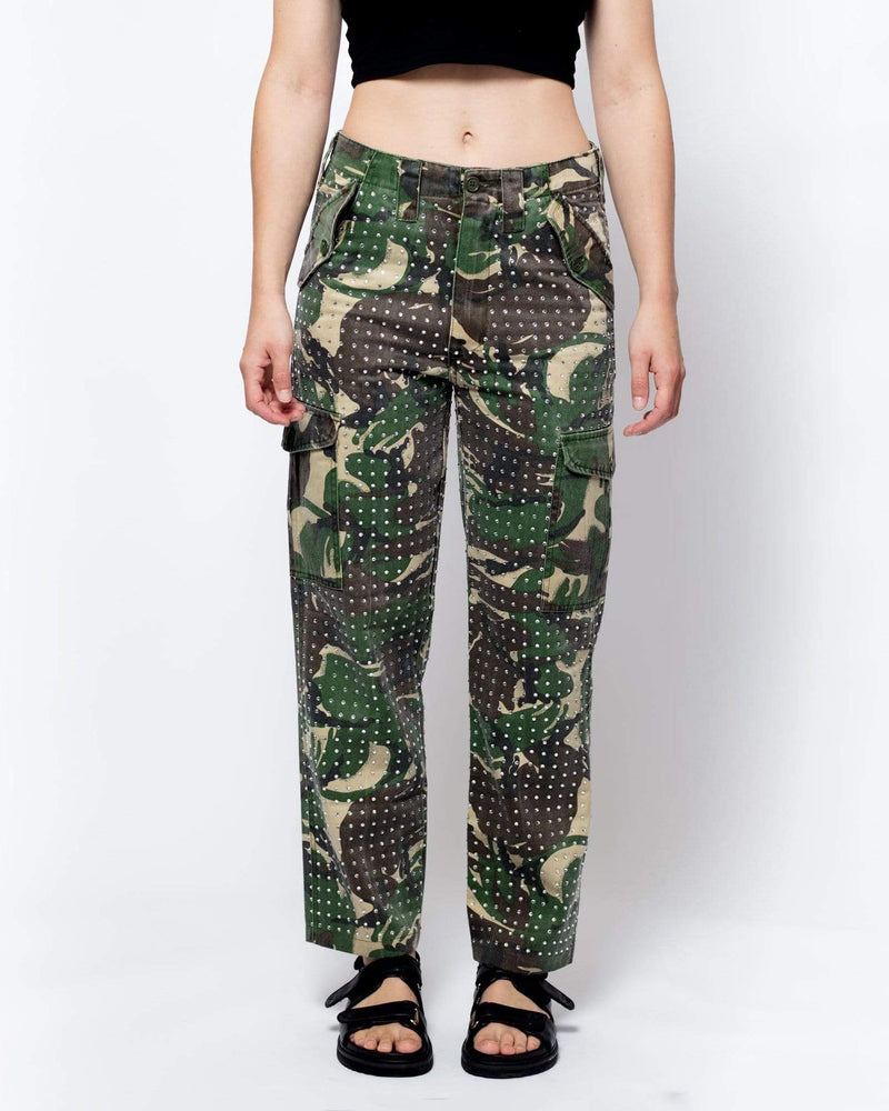 Rework Vintage Diamante Camo Trousers