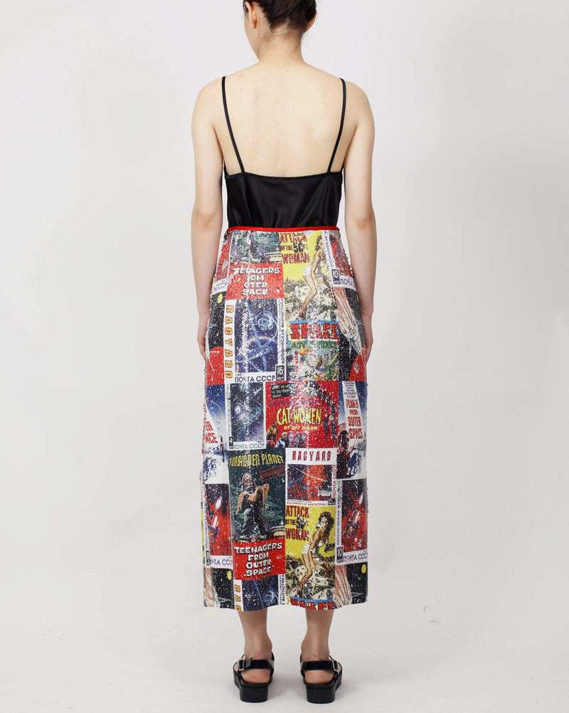 Printed Sequin Midi Skirt