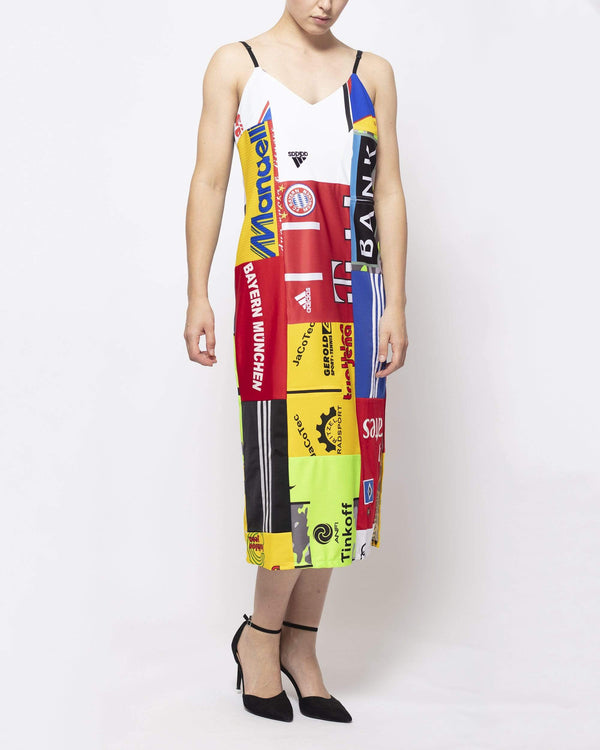 Vintage Rework Sports Patchwork Midi Dress