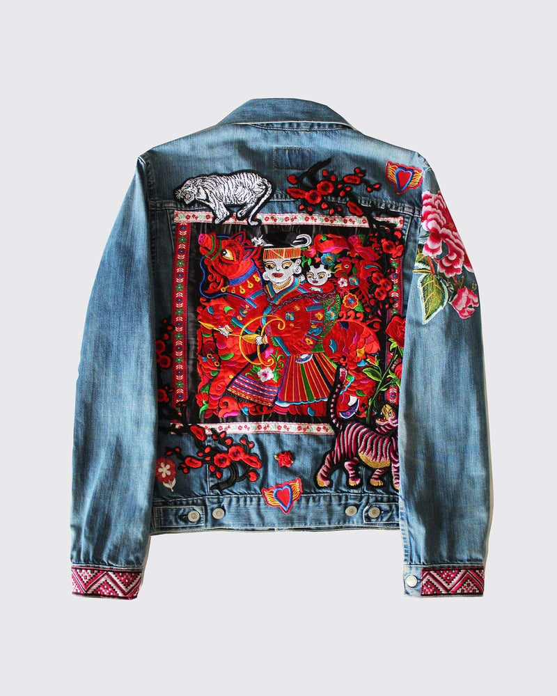 Multi Patched Trucker Jacket With Embroidered Panel
