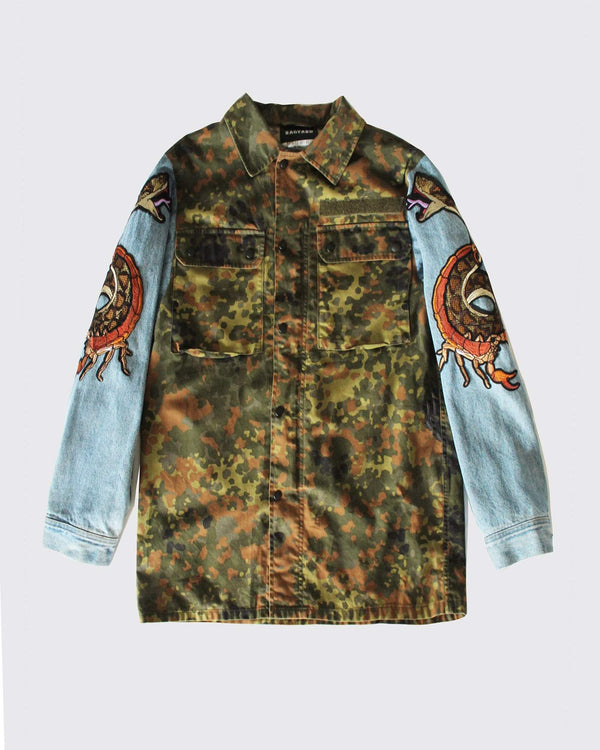 Camo Jacket with Denim Reworked Sleeves