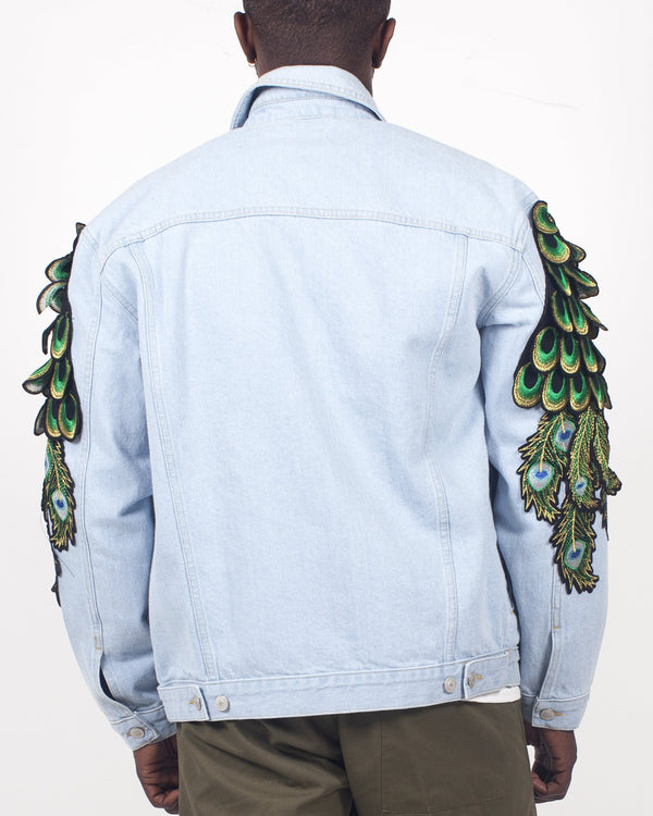Denim Trucker with Peacock Sleeves - Ragyard Vintage Clothing