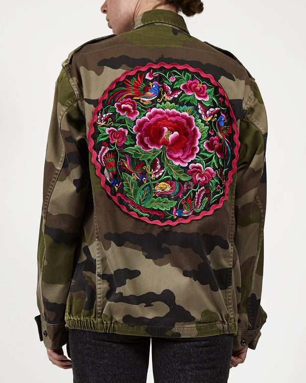 Embroidered Panel Camo F2 Military Jacket