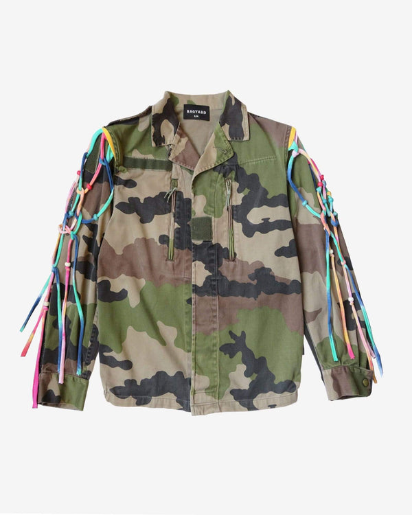Military Jacket with Macrame Beaded Shoulder Patches