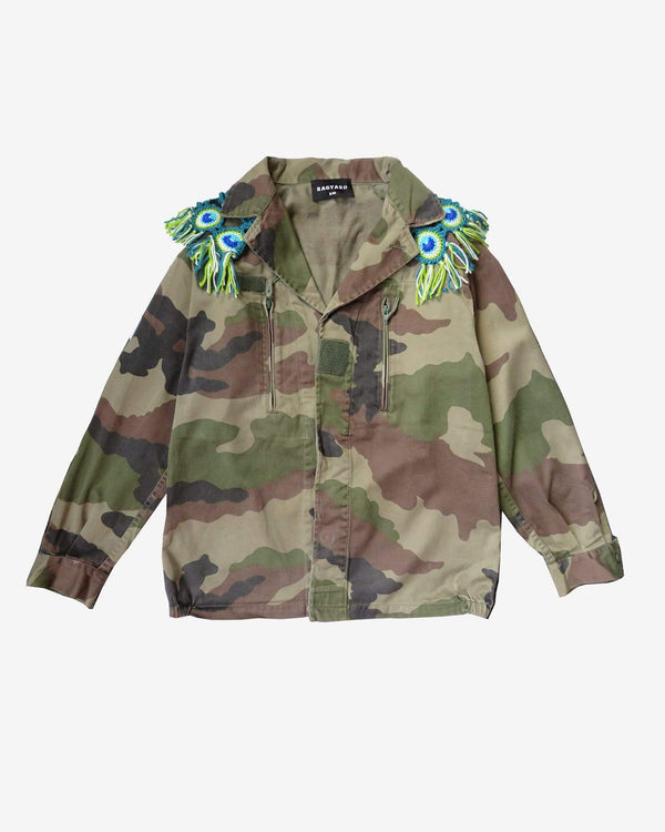 Military Jacket With Peacock Macrame Collar
