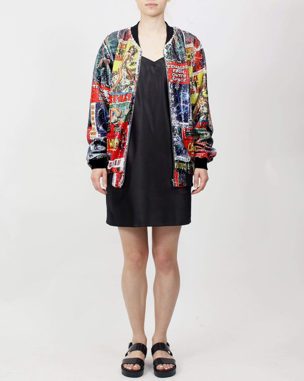 Printed Sequin Bomber Sci Fi Poster