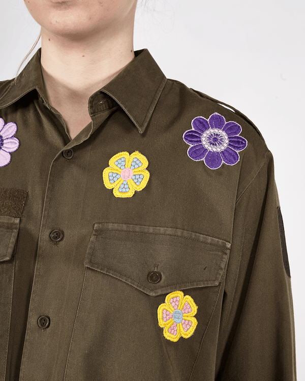 Flower Patched Military Shirt