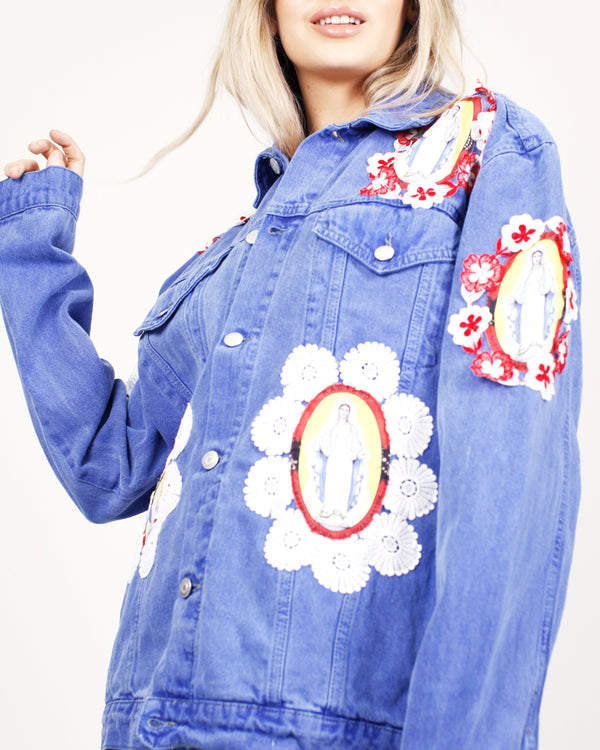 Virgin Mary Denim Trucker Jacket