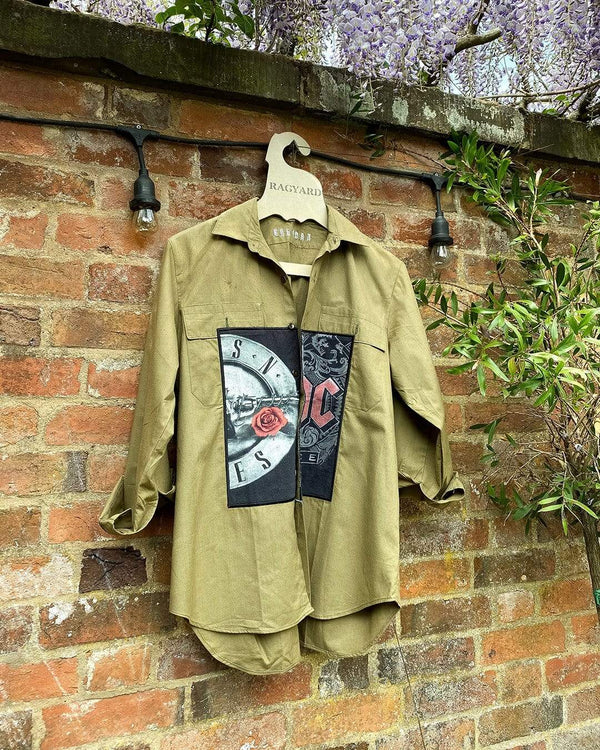 One Of A Kind Vintage Military Shirt With Band Tee Appliques