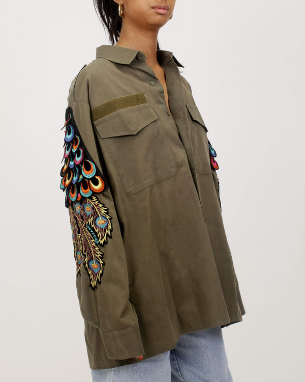 Psychedelic Peacock Military Shirt