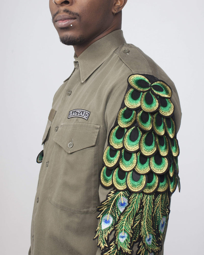 Vintage Khaki Military Overshirt with Peacock Sleeves