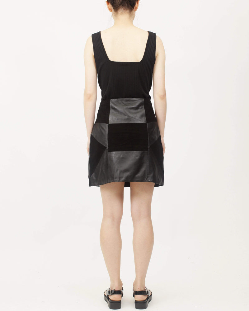 Black Patchwork Leather Skirt