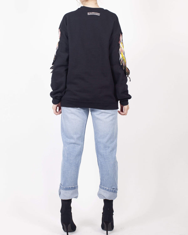 Black Parrot Sleeve Sweatshirt - Ragyard Vintage Clothing