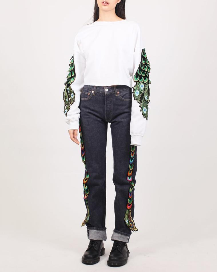 Cropped Peacock Sweatshirt White