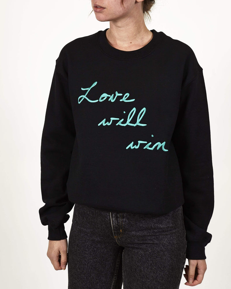 Love Will Win Embroidered Sweatshirt Black and Green