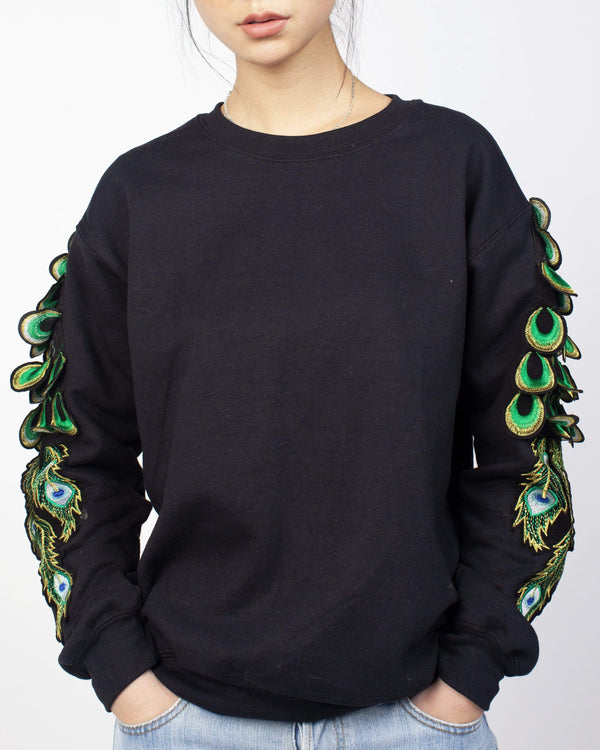 Peacock Sleeve Sweatshirt Black - Ragyard Vintage Clothing