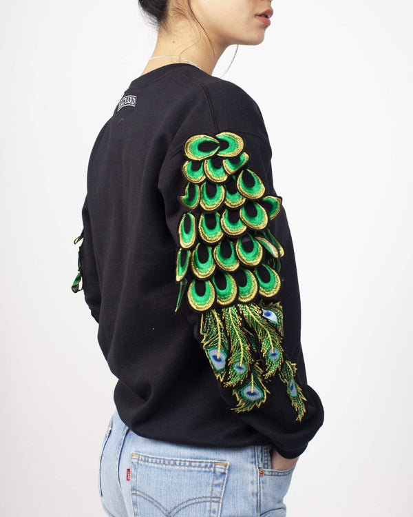 Peacock Sleeve Sweatshirt Black