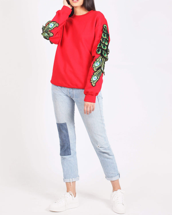 Peacock Sleeve Sweatshirt Red