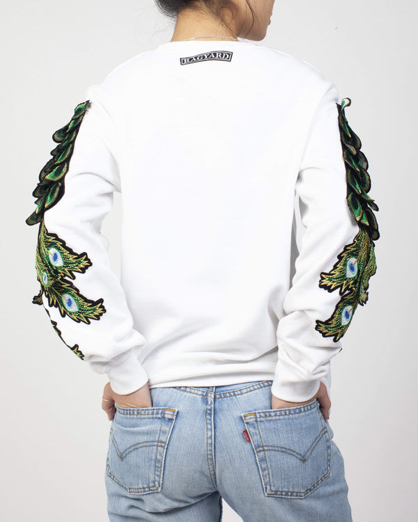 Peacock Sleeve Sweatshirt White - Ragyard Vintage Clothing