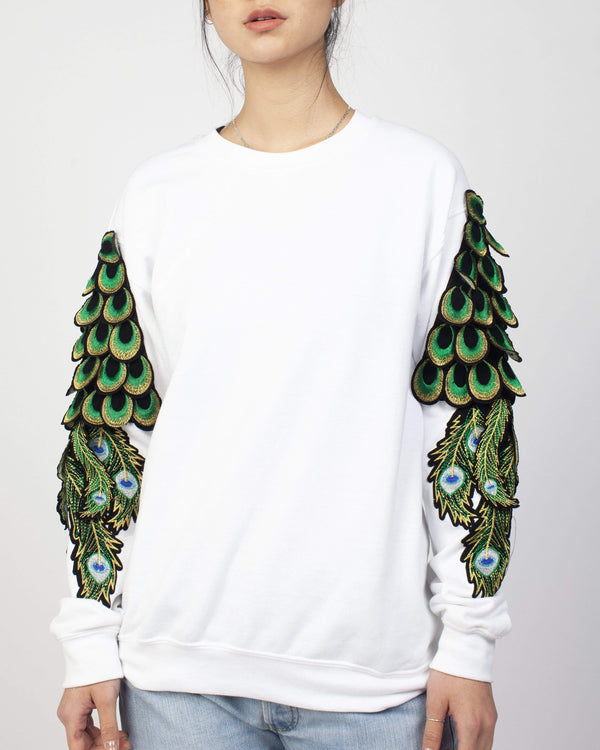 Peacock Sleeve Sweatshirt White