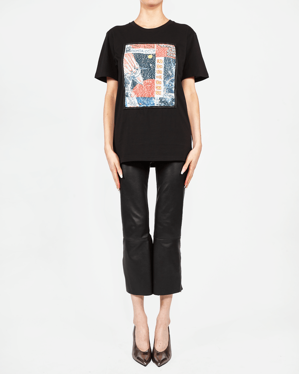 Printed Sequin Panel T-shirt