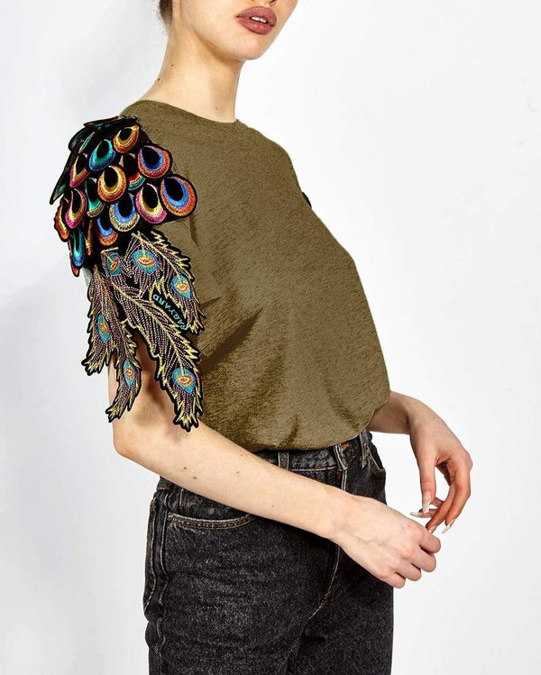 Psychedelic Peacock T-Shirt Khaki