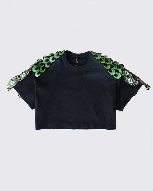 Cropped Peacock T-shirt - Black