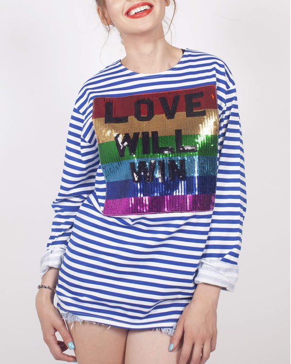 Love Will Win Breton T-shirt Blue and White